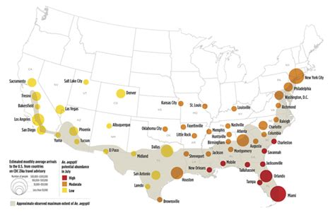 mosquito map usa mosquitoes could spread zika in dozens of u s cities