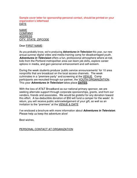 cover letter for sponsorship best photos of sle sponsorship letter templates