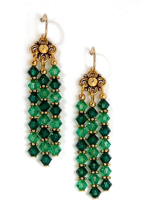Green Chandelier Earrings Green Swarovski Chandelier Earrings