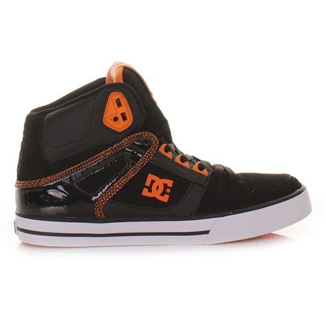mens dc shoes spartan hi black blazing orange high top
