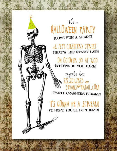 printable halloween invitations printable spooky halloween party invitation