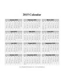 2015 Calendar One Page Printable 2015 Calendar On One Page Vertical Week Starts