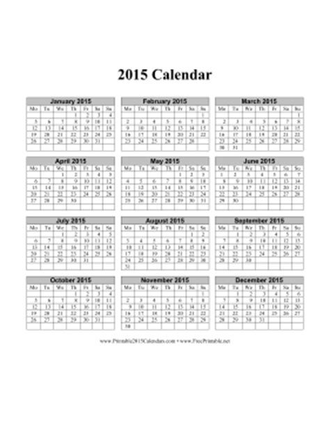 printable 2015 calendar on one page vertical week starts