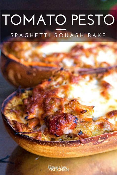 tomato pesto spaghetti squash bake the bewitchin kitchen