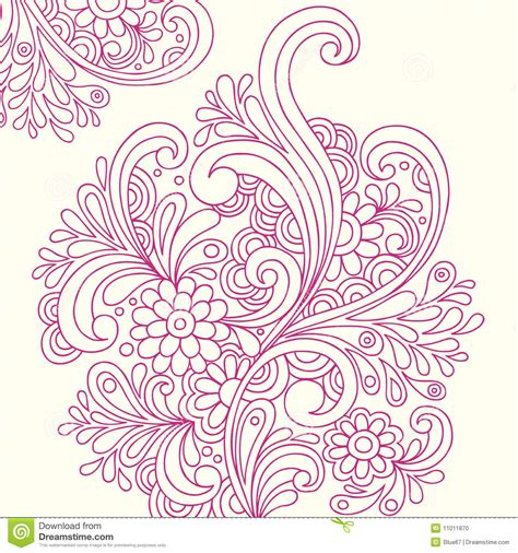 doodle flowers vector doodle henna abstract flowers vector stock photo image