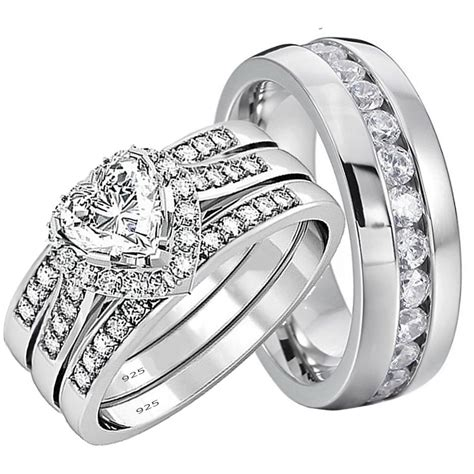 wedding rings  pcs engagement sterling