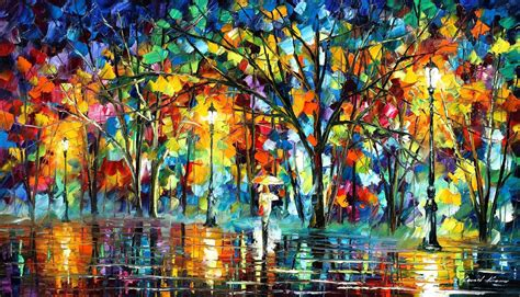 painting work lonely walk palette knife oil painting on canvas by