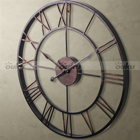 large wall clock hot sale extra large vintage style statement metal wall
