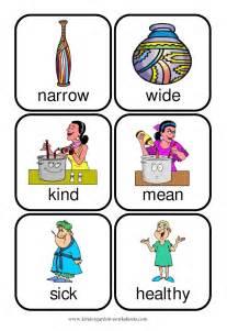 Flashcards Meaning Kindergarten Worksheets Flashcards Opposite Words