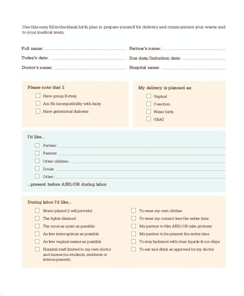 cesarean birth plan template 9 sle birth plans sle templates