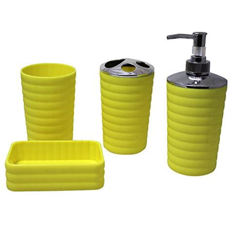 justnile 4pcs plastic bathroom accessory set yellow easy