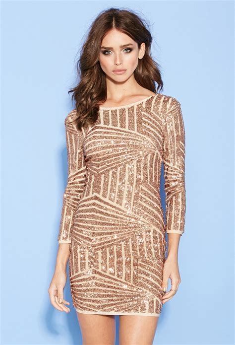 sequined abstract pattern dress forever 21 sequined abstract pattern dress in pink lyst