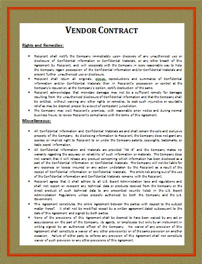 vendor contract template contract templates free word templates