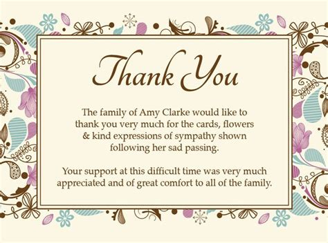 thank you card sample thank you funeral cards wording for thank