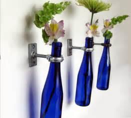 3 cobalt blue wine bottle wall flower vases wall vase