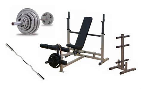complete weight set with bench body solid complete bench press package