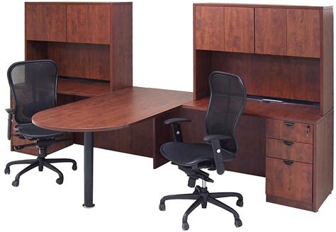 desk for 2 cherry laminate 2 person peninsula workstation w hutches