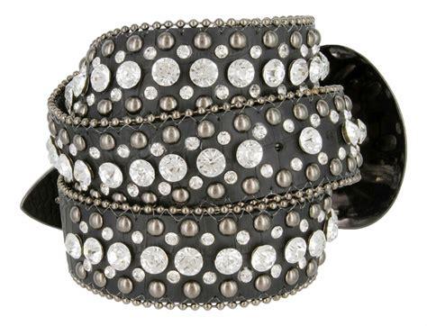 50158 s western rhinestone studded leather belt 1 1