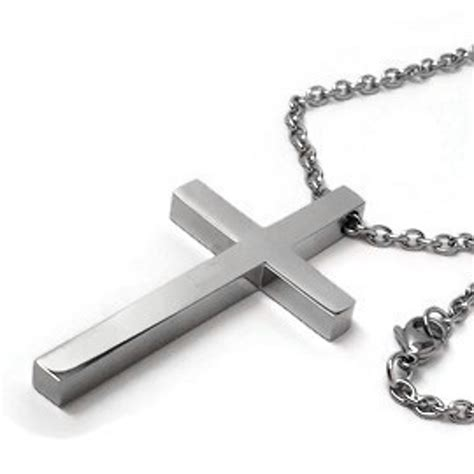 modern mens jewelry silver stainless steel cross pendant