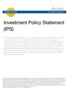 Investment proposal investment policy statementinvestment policy