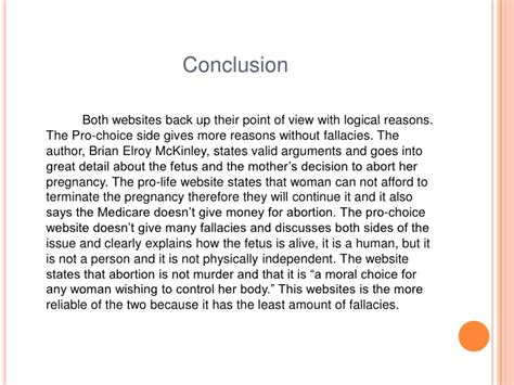 pro choice abortion thesis statement conclusion about abortion essay