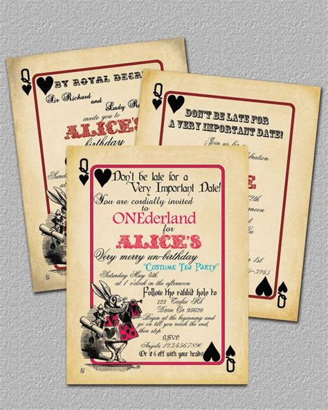 printable playing card invitation template playing card alice in wonderland invitation bridal shower