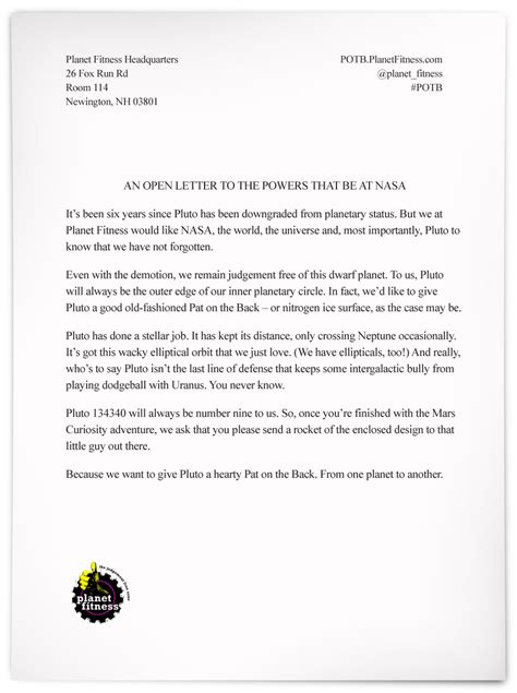 planet fitness sticks up for pluto in open letter to nasa