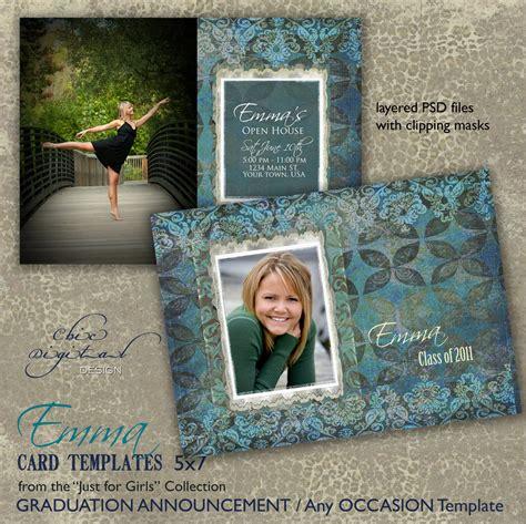 graduation card templates for photographers graduation announcement card template for photographers 5x7