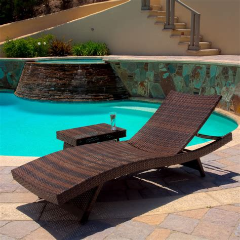outdoor pool furniture chaise lounge christopher home outdoor brown wicker adjustable chaise lounge and table contemporary