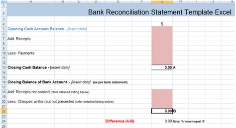 excel bank account template bank reconciliation statement excel template xls