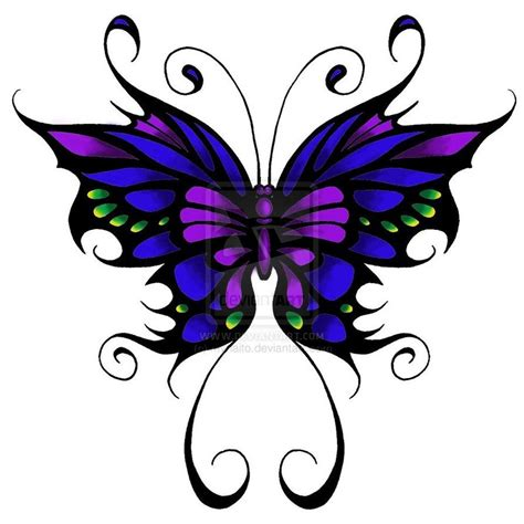 butterfly tattoo pictures butterfly blue purple and green w black outline