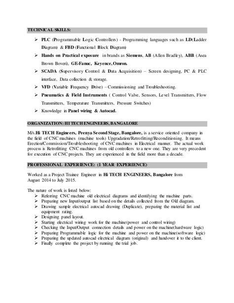 Automated Tester Sle Resume by Plc Application Engineer Resume 28 Images Automation Engineer Cover Letter Sle Livecareer