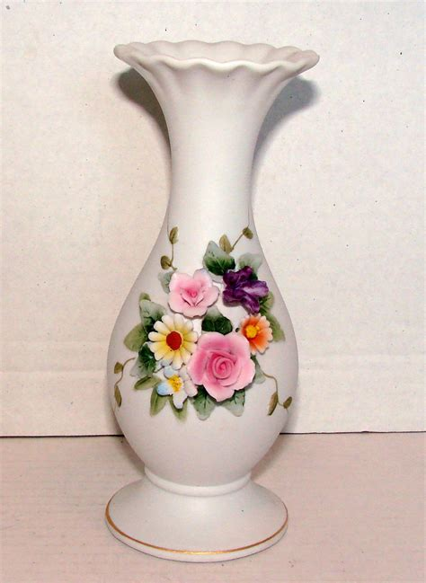 Lefton Vase by Vintage Lefton China 6 5 Inch Vase W Raised Florals