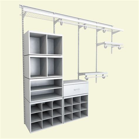Closetmaid System closetmaid elite 96 in h x 96 in w x 14 1 in d 52 wire and laminate closet system in