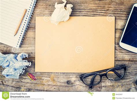 Desktop Mix On A Wooden Office Table. Stock Photo   Image: 49422937