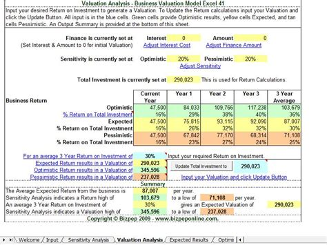 company valuation template excel business valuation model excel 41 free