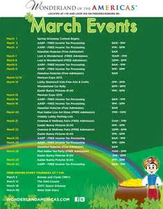 march events calendar 2015 wonderland of the americas mall
