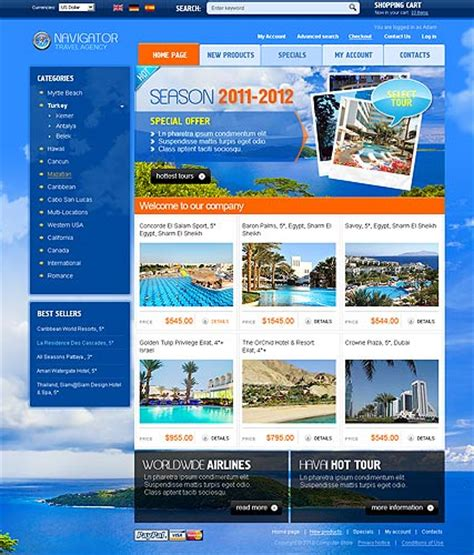 travel agency 2 3 oscommerce theme best website templates