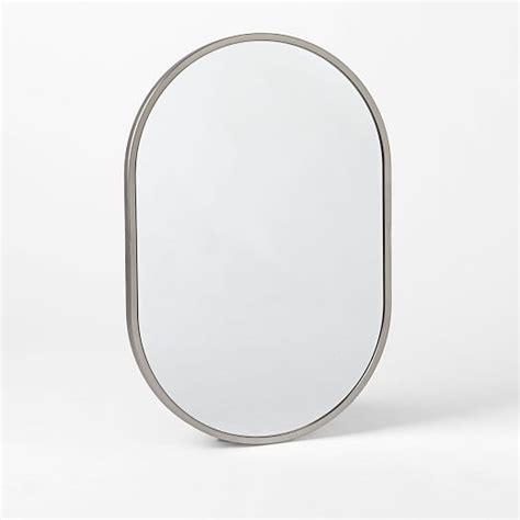 metal oval wall mirror brushed nickel bathroom metal framed oval wall mirror brushed nickel west elm
