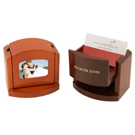 personalized pop up desk business card holder with frame