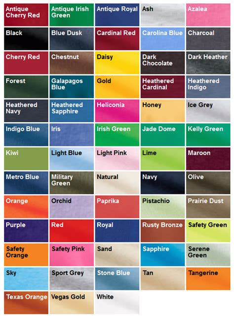 gildan shirt color chart pin gildan shirt colors on