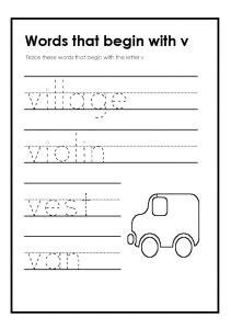 words with the letter v lowercase letter v worksheets free printable preschool 1741