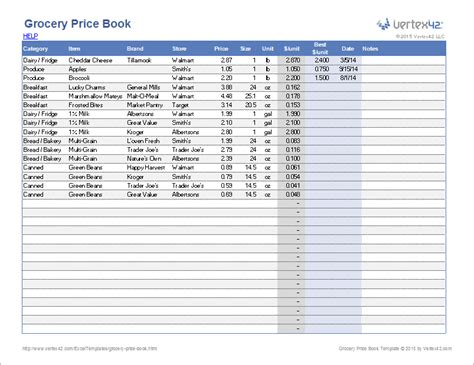 grocery price list template grocery price book template
