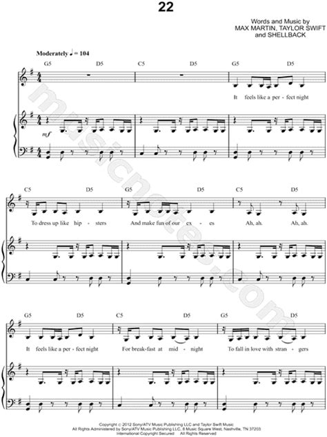 taylor swift dress piano chords taylor swift quot 22 quot sheet music in g major transposable