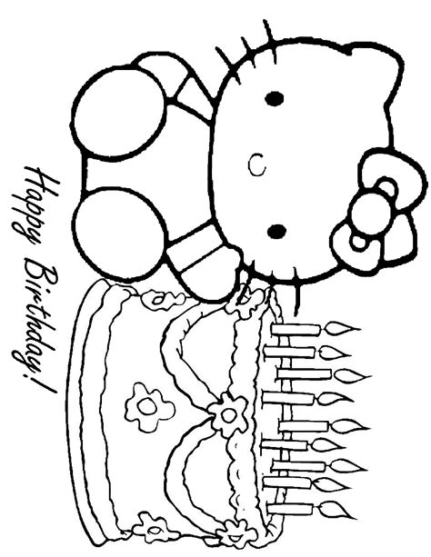 hello kitty birthday coloring sheet