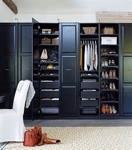 Ikea Bedroom Storage by A Black Brown Wardrobe Filled With Clothes