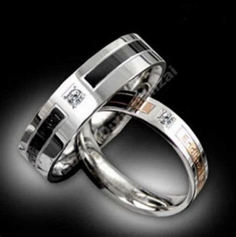diamante titanium steel promise rings