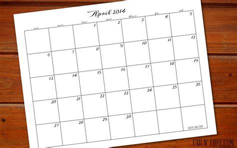 Calendar April 2014 Free Printable Calendar April 2014 Fab N Free