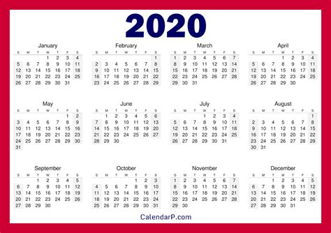 printable   calendar horizontal red calendarp printable  calendars