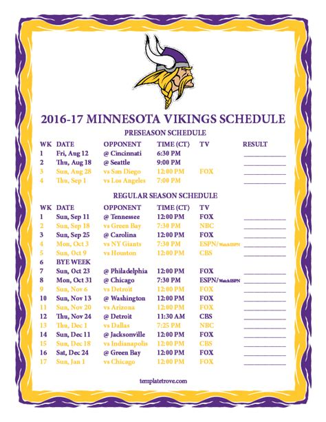 printable vikings schedule 2015 search results for printable 2015 2016 minnesota vikings